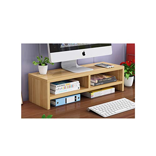 ZXF5 Monitor Stand Wooden Computer TV PC Laptop Office Home Screen Heighten Desktop Storage,Wood,Double Layer
