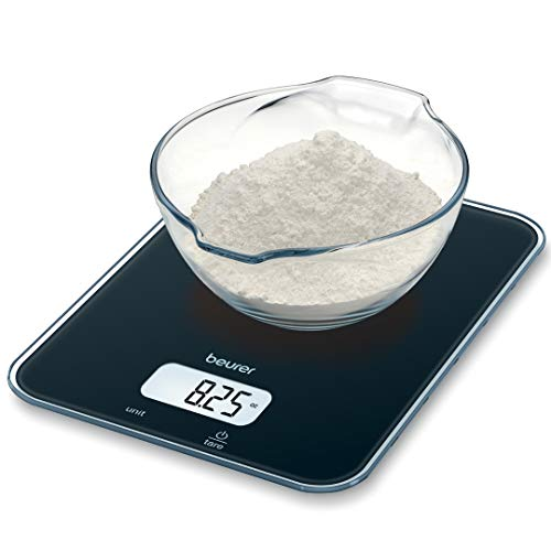 Beurer MultiFunction Digital Kitchen Scale Food Scale Digital Display with Tare Function Precise Measures in g oz lb: oz ml floz with AutoOff KS19 Black