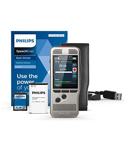 Philips Pocket Memo Digitales Diktiergerät DPM7200 Schiebeschalter-Bedienung, 2 Mikrofone für Stereo-Tonaufnahmen, Farbdisplay, Edelstahlgehäuse, inkl. Diktiersoftware SpeechExec Basic 2-Jahres-ABO