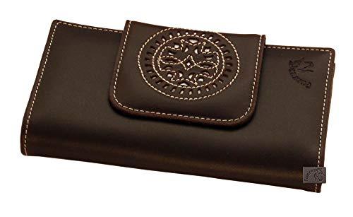 Billetera señora Piel España 16 cm Cartuja Marrón Chocolate