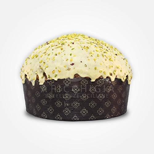 A' Ricchigia - Handgemachter Panettone beschichtet mit Schokolade und Körner von Pistazien (750gr) und Becher von Pistaziencreme (150gr)