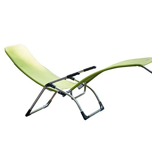 Jan Kurtz Samba Chaise Longue de Jardin en Aluminium Vert Longueur 142 cm Largeur 63 cm Hauteur 107 cm