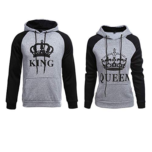YJQ King Queen Matching Couple Crown Pullover Hoodie Sweatshirts Grey Men 2XL +Women M