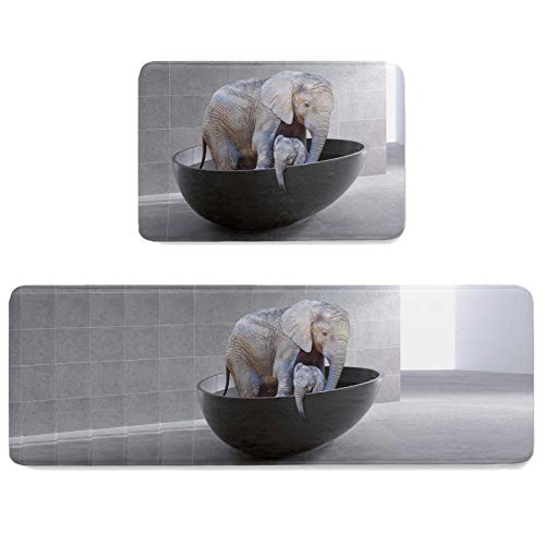 Prime-Home 2 Pieces Doormats Non-Slip Kitchen Mats and Rugs Set, Bathtub Animal Elephant Mom and Baby Washable Door Mat Dirt Trapping Rugs for Entryway Indoor, Retro Brown 19.7x31.5in+19.7x47.2in
