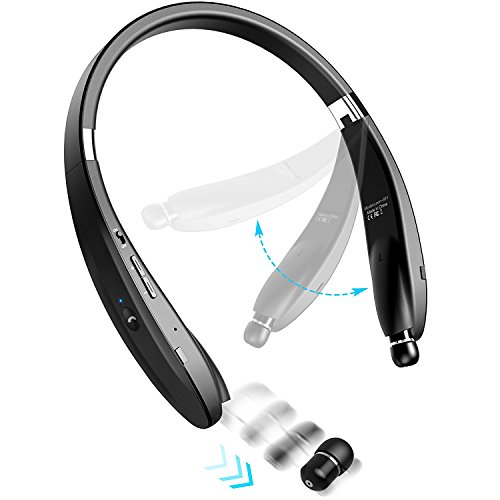 Bluetooth Earbuds Bluetooth Headphone MQOUNY Wireless Neckband Design with Retractable Earbud Earphones for iPhone, Android, Other Bluetooth Enabled Devices.