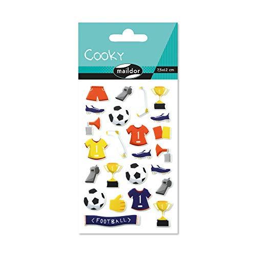 Maildor CY066O Packung mit Stickers Cooky 3D (1 Bogen, 7,5 x 12 cm, ideal zum Dekorieren, Sammeln oder Verschenken, Fußball) 1 Pack