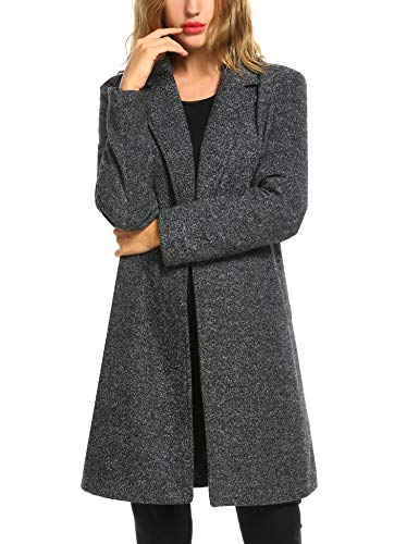 Zeagoo Women Long Trench Coat Single Breasted Wool Jacket Cardigan,X-Large,Black