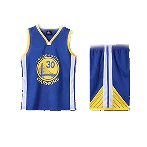 SXZG Kids Boys Basketball Jersey 2 Piezas # 30 Curry, Adecuado para Juegos de Equipo Escolar, Chaleco sin Mangas Transpirable con Conjunto de Pantalones Cortos, 3xs-2XL