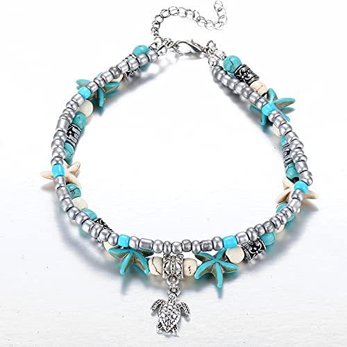 Anklet for Women, Adjustable Ankle Bracelet, Handmade Boho Hawaiian Beach Double Pattern Snail Sea Star Yoga Beach Foot Chain Bracelet Jewelry for Girls (F)