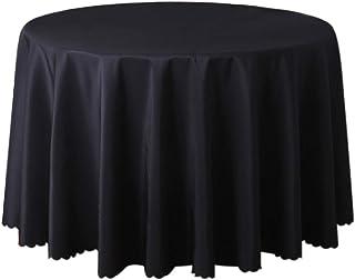 Doitsa Manteles Redondos de Poliéster Manteles Familiares Hotel Boda Banquete Elegante Decoración Simple Clásico Table Cover Size 180cm (Negro)