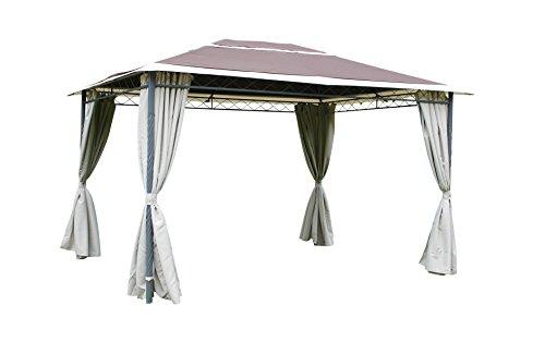 Leco Antik Pavillon, Stahlrohr mit Pulverbeschichtung, anthrazit, 100 % Polyester, braun-natur