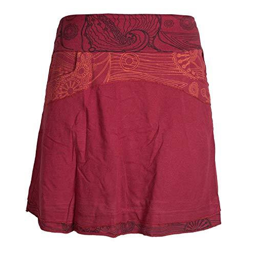 Vishes - Alternative Bekleidung - Kurzer Lagen-Look Baumwoll-Rock Bedruckter Breiter Bund mit Taschen dunkelrot 40
