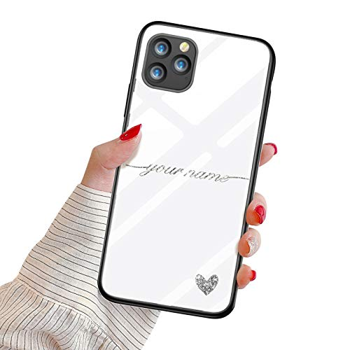 Suhctup Funda Personaliza Compatible con iPhone 5/5S/SE Carcasa de Vidrio Templado con Amor y Texto Diseño Personablizable Regalo Ultrafina Dura Antigolpes Proteccion Caso(Plata)
