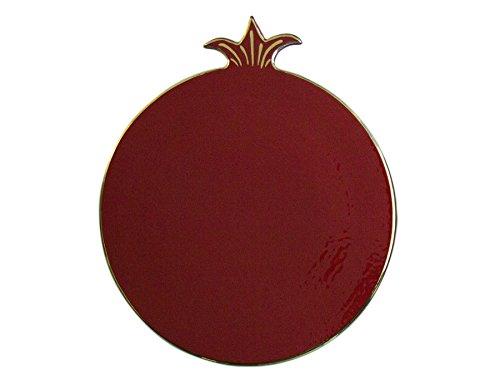 Saray Judaica Jewish Plato Rojo Grande Salvamanteles Granada cerámica Pintada a Mano Rosh Hashanah
