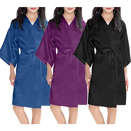 Kids Girls Satin Kimono Robe Bathrobe Girl Pajama Dressing Children Kimono Gown Nightgown Sleepwear for Spa Swimming Wedding Birthday Home Pajamas Party Cardigan Robe Nightwear Pyjamas 2-11 Years