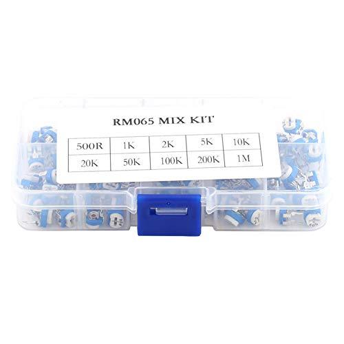 100Pcs 10 Valores Variable 500ohm-1M ohm 6mm Resistencia de película Potenciómetro Reóstato Kit de surtido de ajuste horizontal Conjunto para proyectos de electrónica de construcción etc