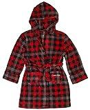 Calvin Klein Boys' Little Robe Hood, Cozy Buffalo Plaid red, Small / 6-6X