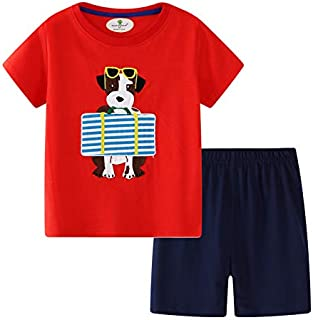 Image of Red and Blue Puppy Dog Pajama Shorts Sets for Toddler Boys and Little Boys - See More Prints