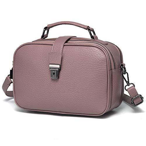 Kasgo Umhängetasche Damen, Elegant PU Leder Crossbody Bag Schultertasche Klein Handtasche für Mädchen mit Abnehmbarem Verstellbarem Riemen Rosa