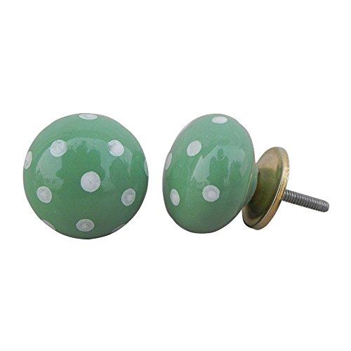 20 piezas de cerámica artesanal Indianshelf Jade verde blanco Dot perillas de Cajón Armario puertas armario APARADOR Aparador tira de nuevo en línea