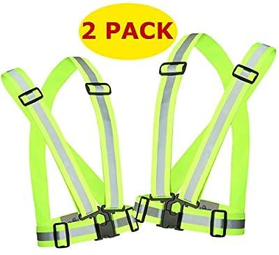 Reflective Running Vest Gear 2 Pack | Hi Vis Made of Silver Reflector Tape | Adjustable, Lightweight, Elastic Reflective Vest | Safety Vests for Women, Men & Jogging, Cycling, Dog-Walking, Car | XL