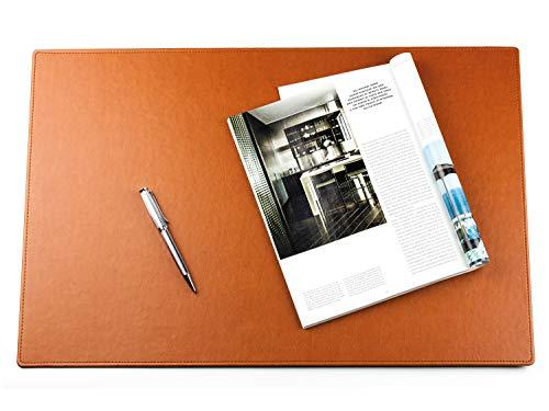 DELMON VARONE - Vade de escritorio personalizable de piel sintética vegana en color marrón, antideslizante, lavable a máquina, adecuado como alfombrilla para ratón, 60 x 40 cm