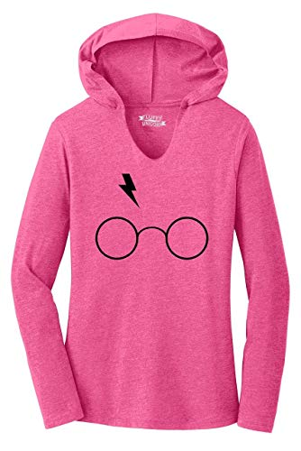 Ladies Hoodie Shirt Harry Lightning Bolt and Glasses Graphic Tee Fuchsia Frost S