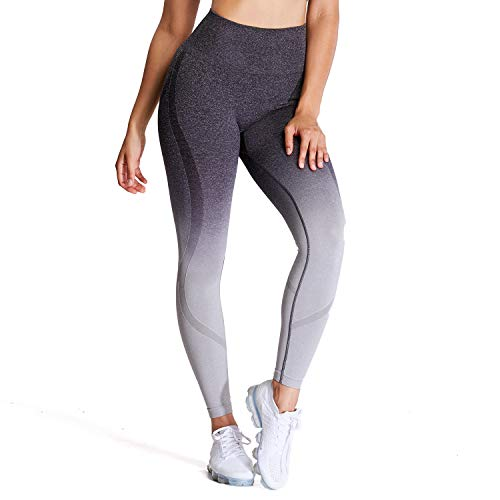 Aoxjox Women's Seamless Leggings Ombre Super Control High Waist Workout Yoga Pants Gym Tights (Black/Light Grey, Medium)