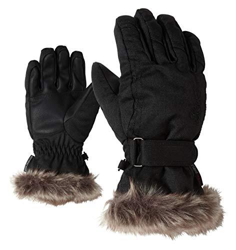 Ziener Mädchen LIM GIRLS glove junior Ski-handschuhe / Wintersport |warm, atmungsaktiv, schwarz (black-Stru), 7