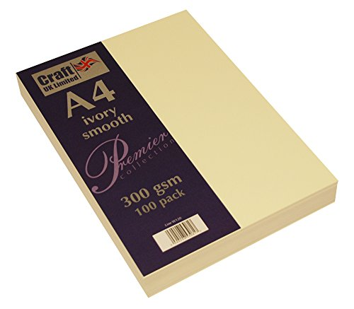 Craft UK – Material de papelería, A4, cartón, Tarjeta Marfil de 300 g/m², 29.6 x 21 x 0.1 cm