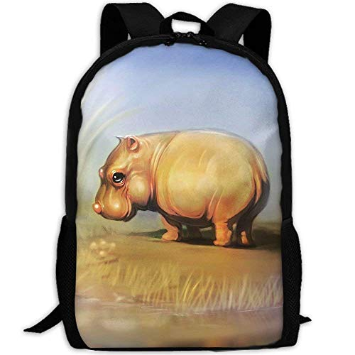 Mochilas Escolares Pequeño Bebé Lindo Hipopótamo Mochila para Viaje Clásico Mochilas Escolares Juveniles Impermeable Bolso De Escuela por Universitaria Niños Niñas Material Escolar