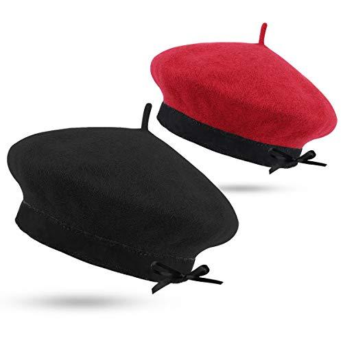 Yoga Beret Sombreros para Mujer-Gorro Francés de Boina,Boina Lana Las Mujeres De Color Sólido Mantener Caliente Ajustable y Suave Sombrero de Invierno
