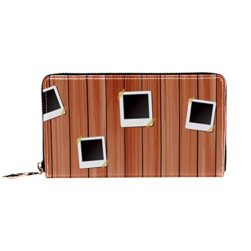 Damen-Geldbörse mit Reißverschluss und Handy-Kupplung, Bücherregal und Holz-Hintergrund, Reise-Geldbörse, Leder, Clutch, Kartenhalter, Organizer, Armbänder, Geldbörsen
