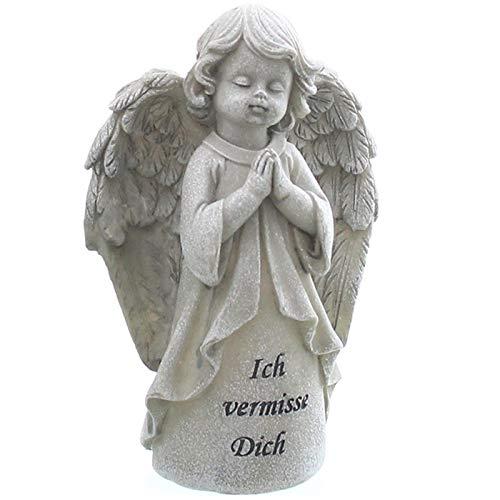 Trauer-Shop Engel Figur mit Gravur Ich vermisse Dich. Höhe 15,5 cm.