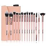 Seneng Juego de 14 brochas de maquillaje profesional para base avanzada, brocha de base para colorete, corrector, juego de brochas de maquillaje con bolsa de maquillaje (barra rosa oro rosa)