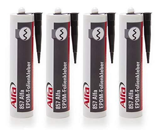 EPDM Kleber 4 x 290 ml schwarz elastischer EPDM-Folienkleber zum Verkleben von EPDM-Folie und anderen Dichtfolien