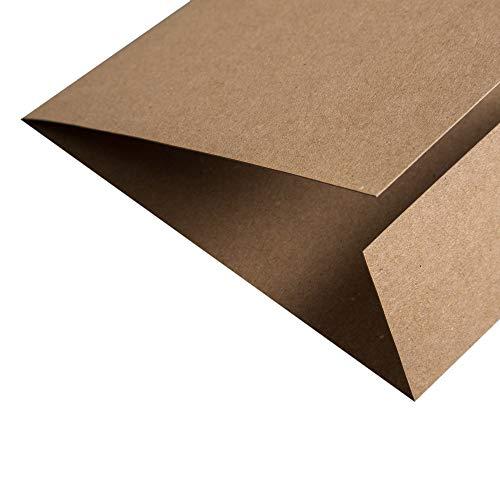 PapierDirekt - 25 Stück Kraftpapier Muskat Klappkarte quadratisch 148 x 150 mm (148 x 150mm), Farbe: muskat, 350 g/qm