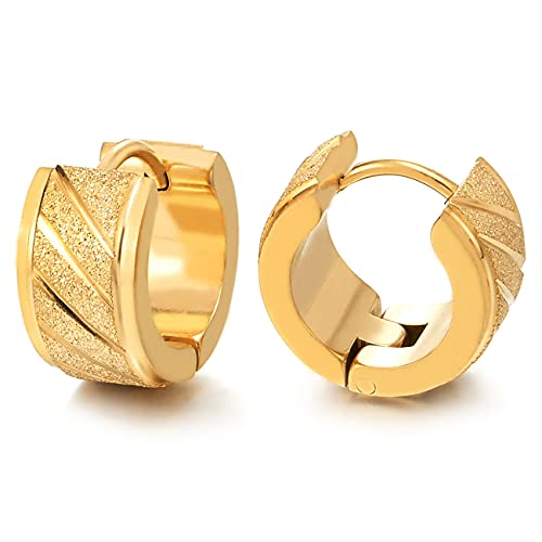 2 Color Oro Acanalados Pendientes del Aro, Pendientes para Hombres Mujer, Acero Inoxidable, Satinado