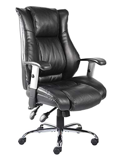 Office Chair Ergonomic Computer Bonded Leather Adjustable Desk Chair, Swivel Comfortable Rolling, Black