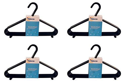 Bieco Kleiderbügel Kinder Baby Kinderkleiderbügel Babykleiderbügel Kunststoff Hangers Hosensteg Aufbewahrung für Kleiderschrank Schrank Länge 29,5cm, 32 Stück, schwarz, schmal, Artn 90032150