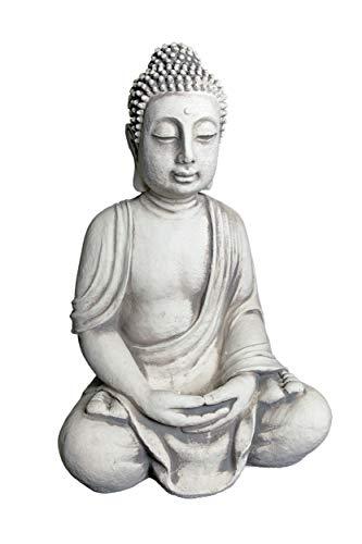 gartendekoparadies.de Massive Steinfigur riesiger Buddha Statue aus Steinguss frostfest (Grau)