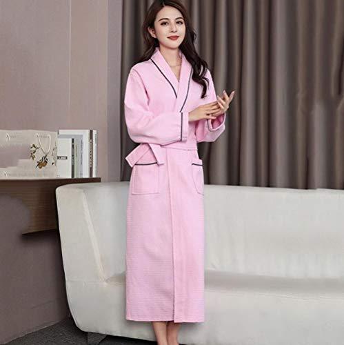 YSKDM Ropa de Dormir Lencería íntima Otoño Nueva Ropa de Dormir Sexy Vestido de Kimono Ropa de hogar de Manga Larga Camisón Verde para Mujer, Rosa, XXL