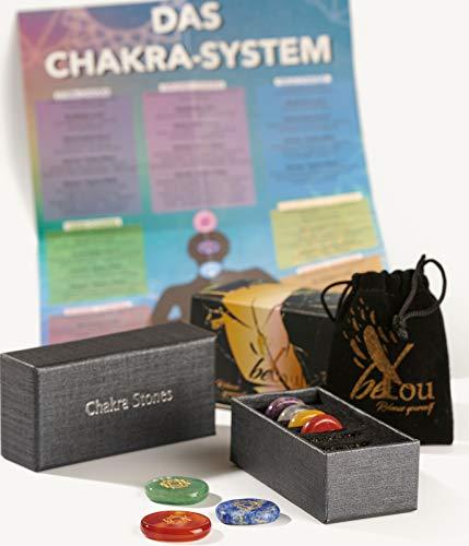 beYou® Chakra Steine - [inkl. Chakra Poster] - Handgefertigte Heilsteine in deutscher Premium Qualität - Heilsteine Set inkl. e-Book