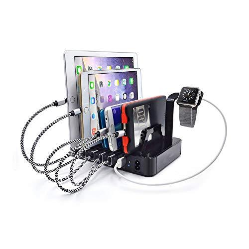 USB充電ステーション複数のデバイス用の6ポートUSB充電ステーション、iPhone/Androidスマートフォン/タブレット/スマートウォッチ用の携帯電話充電ベースブラケット