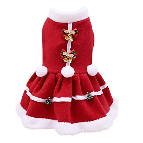 Kerstmis Huisdier Warm Jurk Hond Meisjes Winter Kostuum Rode Strik Jurk Puppy Warm Fleece Rok Jas Bruidsjurk M
