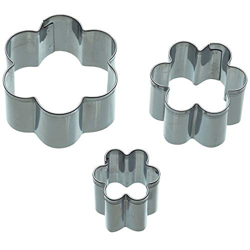 KitchenCraft Sweetly Does It Flower Fondant Cutters for Cake Decorating, Stainless Steel, 3 Piece Set