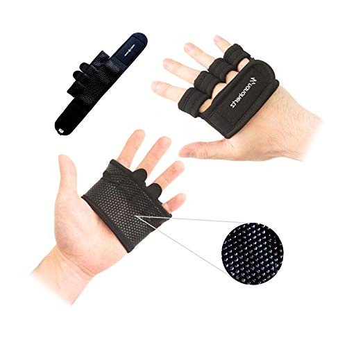 Weight Lifting Workout Fitness Gloves | Callus-Guard Gym Barehand Grips | Support Alpha Cross-Training, Rowing, Power-Lifting, Pull Up for Men & Women (Black, S)