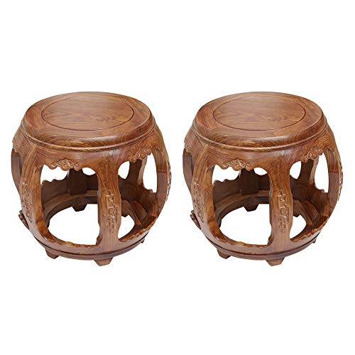 Taburete de bar 2PCS, taburete de comedor chino antiguo, taburete tallado para sala de estar, taburete de mesa de centro de palisandro, banco, taburete Guzheng, muelle de tambor/E / 29×34.5