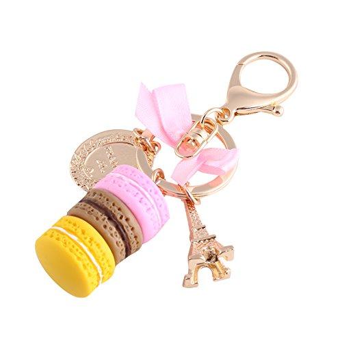 Llavero de macarrón, llavero de coche con lazo, regalo de cumpleaños, llavero de macarrón para bolso/teléfono/accesorio colgante para coche(pink)