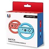 GH 小型サイズの子ども向け スイッチ ハンドル 、マリオカート 8 デラックス 専用 、 Switch ジョイコン (Joy-Con) コントローラー 専用 ハンドル 2個 セット(赤1+青1)